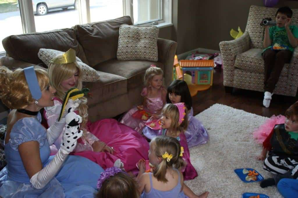 Puppetry with Princess Cinderella and Princess Sleeping Beauty at a Calgary princess birthday party
