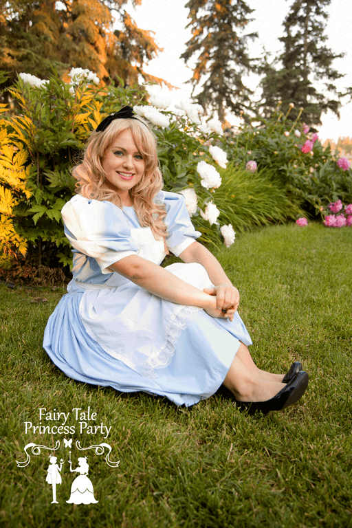 Alice sitting after a tea party