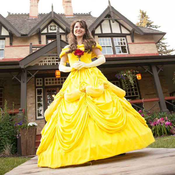 Princess Belle with Rose outside Calgary landmark